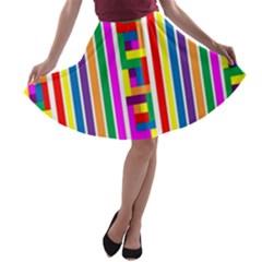 Rainbow Geometric Design Spectrum A Line Skater Skirt