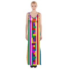 Rainbow Geometric Design Spectrum Maxi Thigh Split Dress