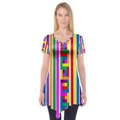 Rainbow Geometric Design Spectrum Short Sleeve Tunic