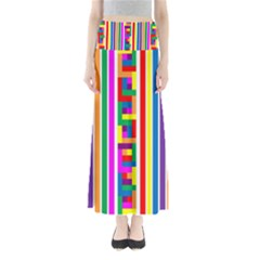 Rainbow Geometric Design Spectrum Full Length Maxi Skirt