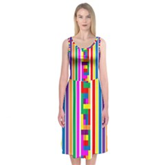 Rainbow Geometric Design Spectrum Midi Sleeveless Dress
