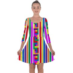 Rainbow Geometric Design Spectrum Quarter Sleeve Skater Dress