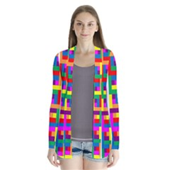 Rainbow Geometric Design Spectrum Drape Collar Cardigan