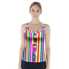 Rainbow Geometric Design Spectrum Racer Back Sports Top