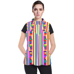 Rainbow Geometric Design Spectrum Women s Puffer Vest
