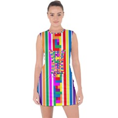 Rainbow Geometric Design Spectrum Lace Up Front Bodycon Dress