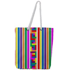 Rainbow Geometric Design Spectrum Full Print Rope Handle Tote (large) by Nexatart