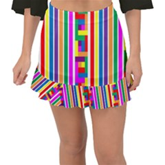 Rainbow Geometric Design Spectrum Fishtail Mini Chiffon Skirt