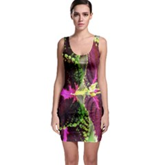 Plant Purple Green Leaves Garden Bodycon Dress