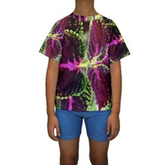 Plant Purple Green Leaves Garden Kids  Short Sleeve Swimwear
