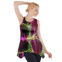 Plant Purple Green Leaves Garden Side Drop Tank Tunic