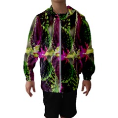 Plant Purple Green Leaves Garden Hooded Wind Breaker (kids)
