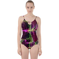 Plant Purple Green Leaves Garden Cut Out Top Tankini Set