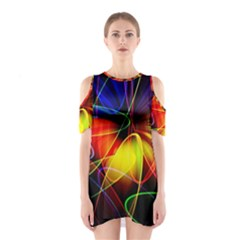 Fractal Pattern Abstract Chaos Shoulder Cutout One Piece