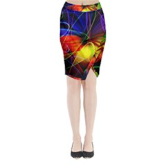 Fractal Pattern Abstract Chaos Midi Wrap Pencil Skirt