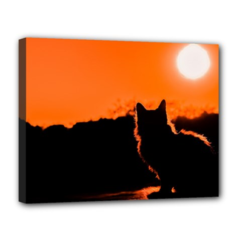 Sunset Cat Shadows Silhouettes Canvas 14  X 11
