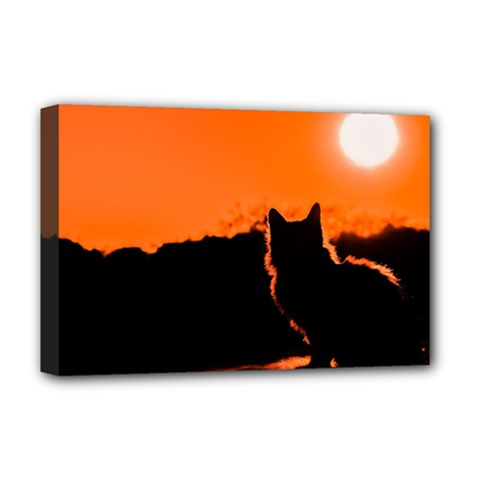 Sunset Cat Shadows Silhouettes Deluxe Canvas 18  X 12
