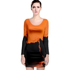 Sunset Cat Shadows Silhouettes Long Sleeve Bodycon Dress