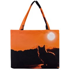 Sunset Cat Shadows Silhouettes Mini Tote Bag