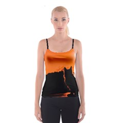 Sunset Cat Shadows Silhouettes Spaghetti Strap Top