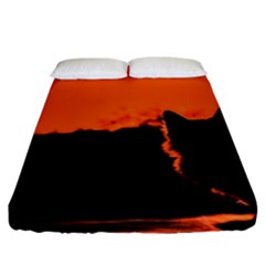 Sunset Cat Shadows Silhouettes Fitted Sheet (king Size)