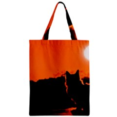 Sunset Cat Shadows Silhouettes Zipper Classic Tote Bag