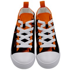 Sunset Cat Shadows Silhouettes Kid s Mid Top Canvas Sneakers