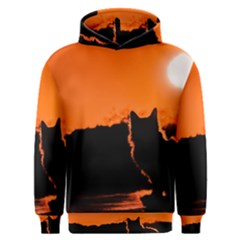 Sunset Cat Shadows Silhouettes Men s Overhead Hoodie