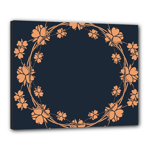 Floral Vintage Royal Frame Pattern Canvas 20  X 16