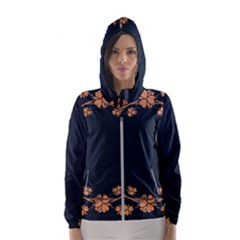 Floral Vintage Royal Frame Pattern Hooded Wind Breaker (women)