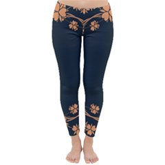 Floral Vintage Royal Frame Pattern Classic Winter Leggings