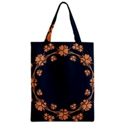 Floral Vintage Royal Frame Pattern Zipper Classic Tote Bag