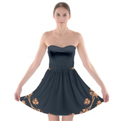 Floral Vintage Royal Frame Pattern Strapless Bra Top Dress