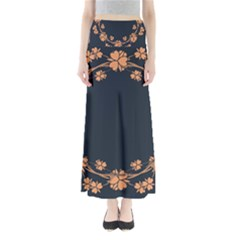 Floral Vintage Royal Frame Pattern Full Length Maxi Skirt