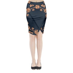 Floral Vintage Royal Frame Pattern Midi Wrap Pencil Skirt