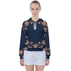 Floral Vintage Royal Frame Pattern Women s Tie Up Sweat