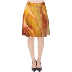 Flowers Leaves Leaf Floral Summer Velvet High Waist Skirt by Nexatart