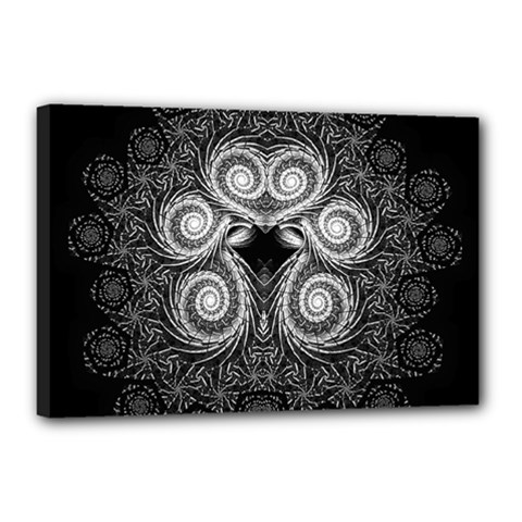 Fractal Filigree Lace Vintage Canvas 18  X 12