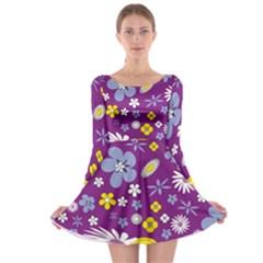 Floral Flowers Long Sleeve Skater Dress