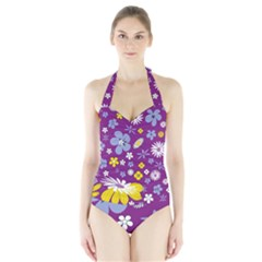 Floral Flowers Halter Swimsuit
