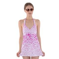 Halftone Dot Background Pattern Halter Dress Swimsuit