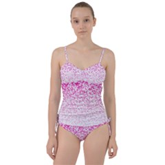 Halftone Dot Background Pattern Sweetheart Tankini Set