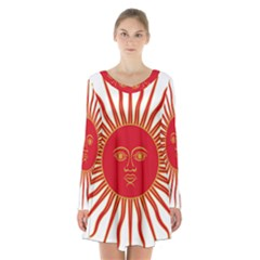 Peru Sun Of May, 1822 1825 Long Sleeve Velvet V Neck Dress