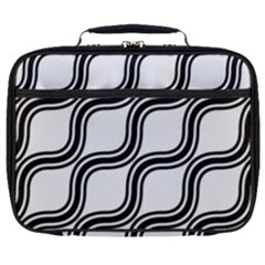 Diagonal Pattern Background Black And White Full Print Lunch Bag