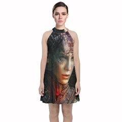 Digital Fantasy Girl Art Velvet Halter Neckline Dress  by Sapixe