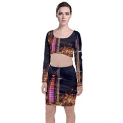 Dubai Burj Al Arab Hotels New Years Eve Celebration Fireworks Long Sleeve Crop Top & Bodycon Skirt Set