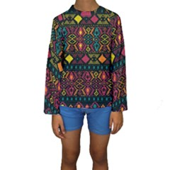 Ethnic Pattern Kids  Long Sleeve Swimwear by Sapixe