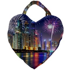 Dubai City At Night Christmas Holidays Fireworks In The Sky Skyscrapers United Arab Emirates Giant Heart Shaped Tote by Sapixe