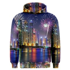 Dubai City At Night Christmas Holidays Fireworks In The Sky Skyscrapers United Arab Emirates Men s Overhead Hoodie by Sapixe
