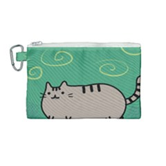 Fat Cat Canvas Cosmetic Bag (medium) by Sapixe